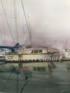 Marina Fog Watercolor Painting