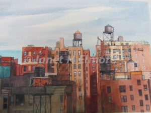 New York Rooftops Watercolor Painting