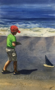 "Janet H Elmore Watercolor Painting ""Boy at the Beach"""