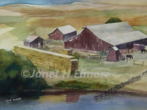 Coastal Farm Watercolor Painting