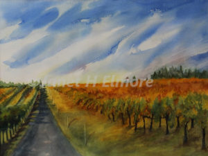 Vineyard Skies Watercolor Painting