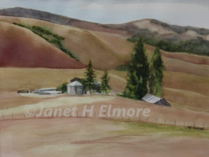 Nestled Farm Watercolor Painting
