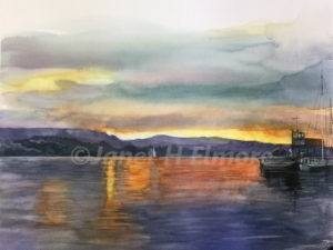 Bodega Bay Sunset Watercolor Painting