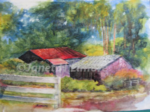 Hidden Barns Watercolor Painting