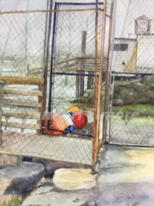 Floats at Dock Watercolor Painting