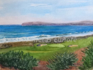 Seaside Green Watercolor Painting