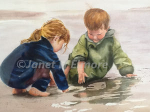Beach Children Watercolor Painting