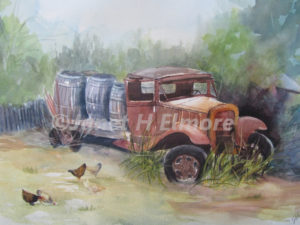 Abandoned Truck Watercolor Painting